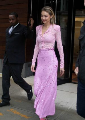 Gigi Hadid in Pink Long Dress out in NYC